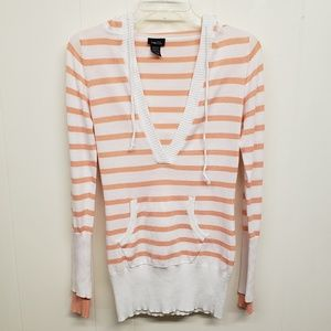 Like New! Peach & White Striped Hoodie